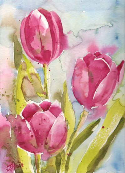 Fine Art Print Of Abstract Pink Tulips Watercolor By Artwithsarah