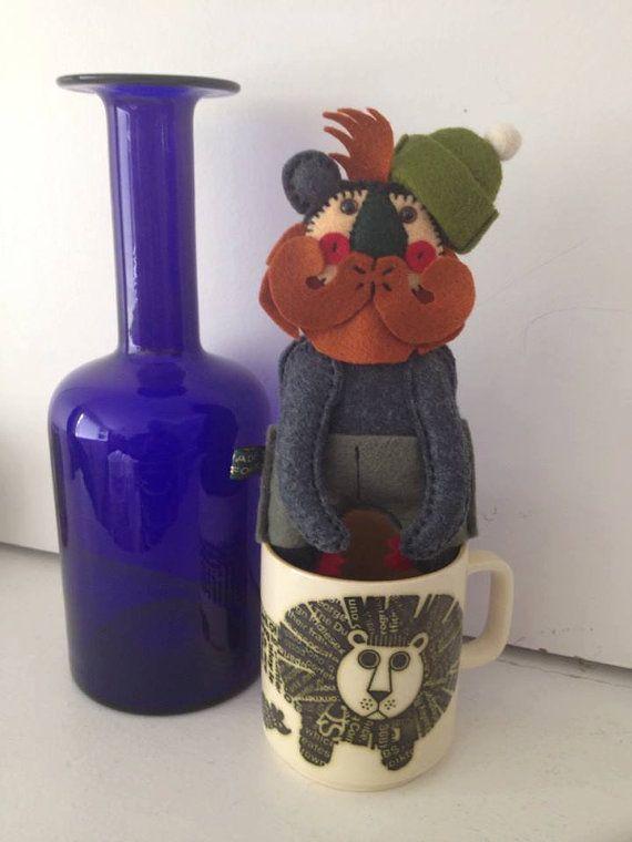 Woodsman Bear. Handmade Miniature Felt Art Doll
