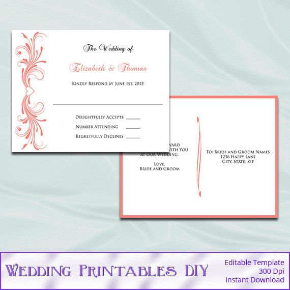 Wedding RSVP Postcard Template Diy Coral by WeddingPrintablesDiy - postcard template