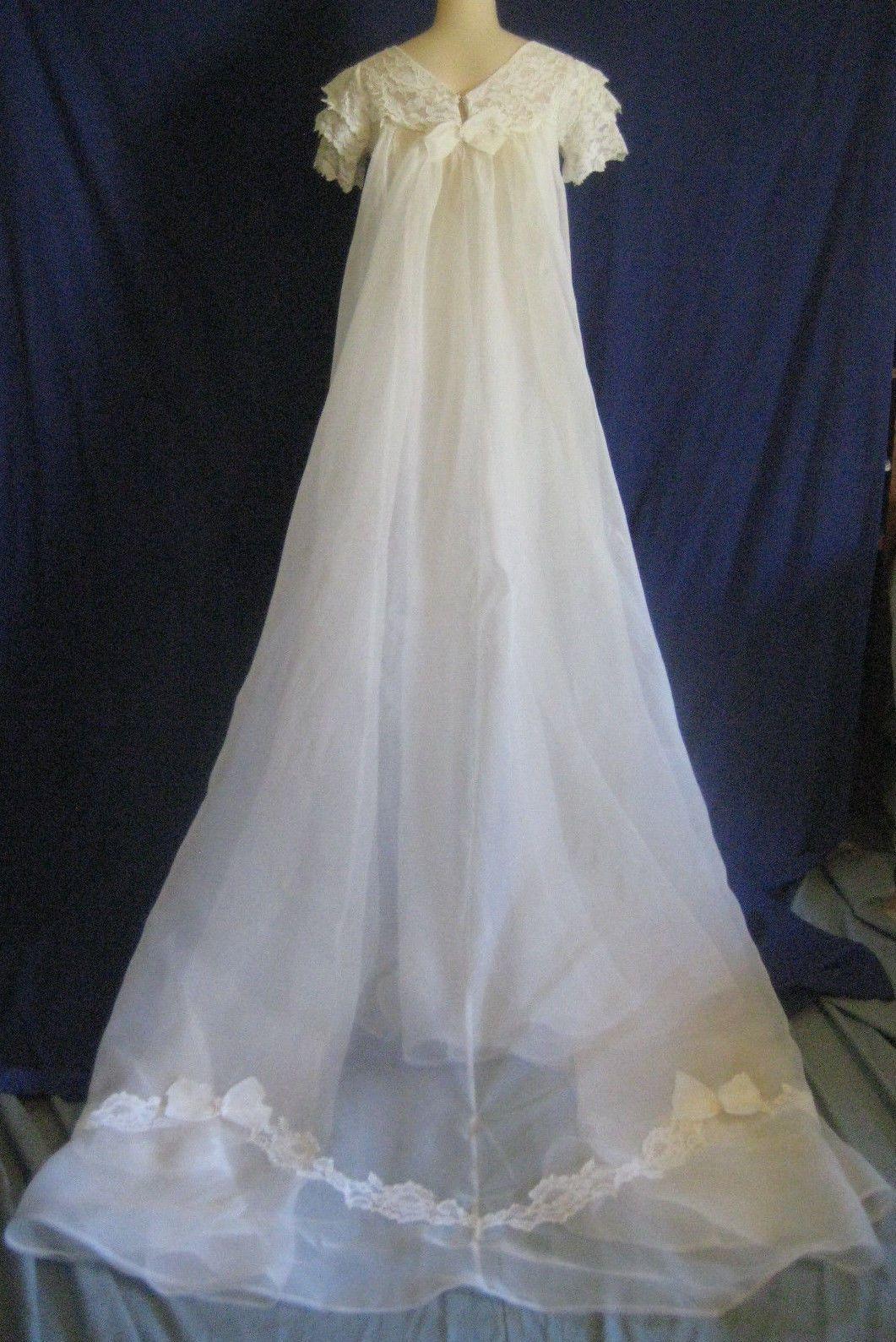 Vtg s wedding dress sz xs xxs petite gown long train offwhite