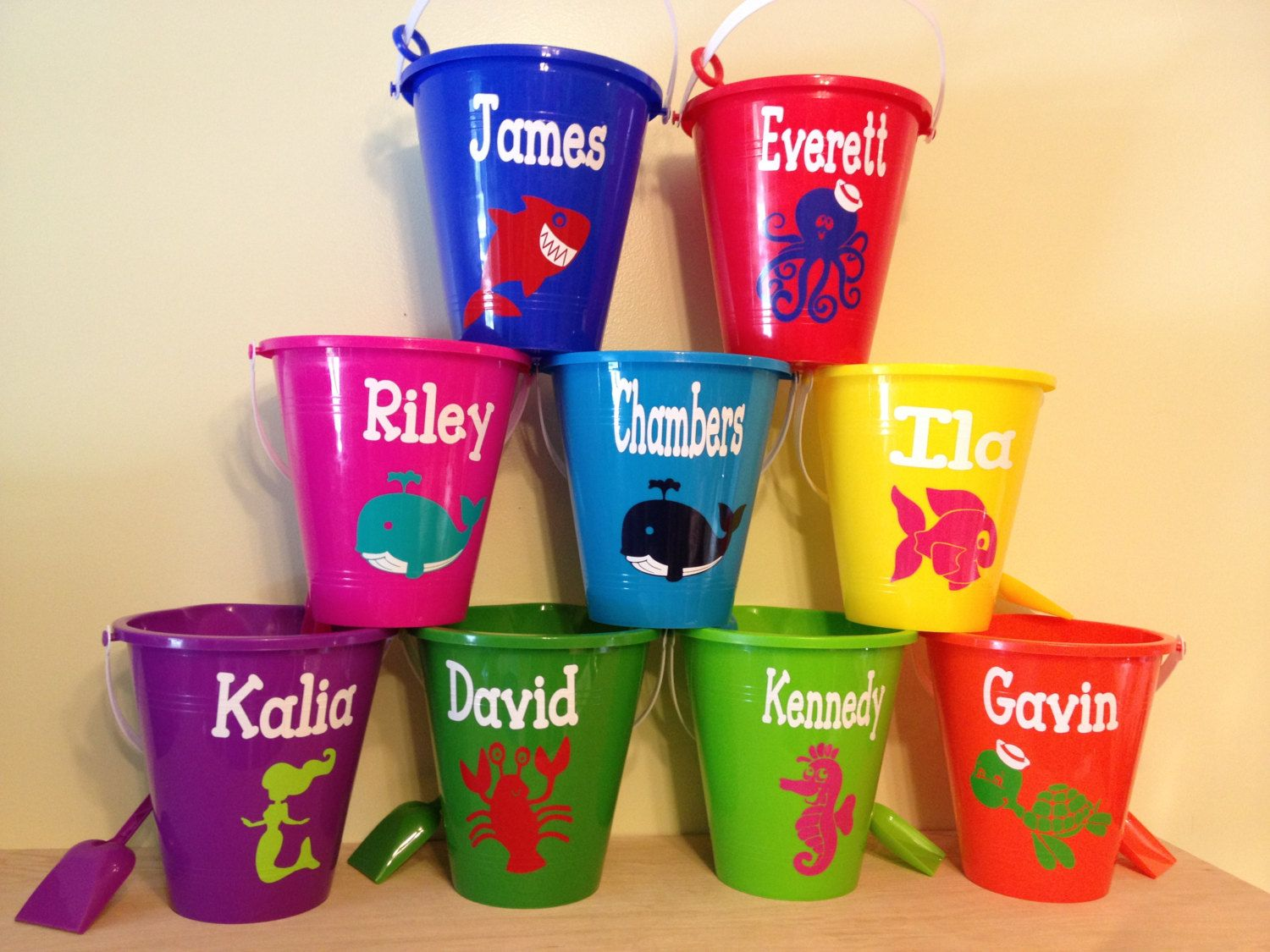 quantity 6 personalized sand pail beach bucket with by deladesign