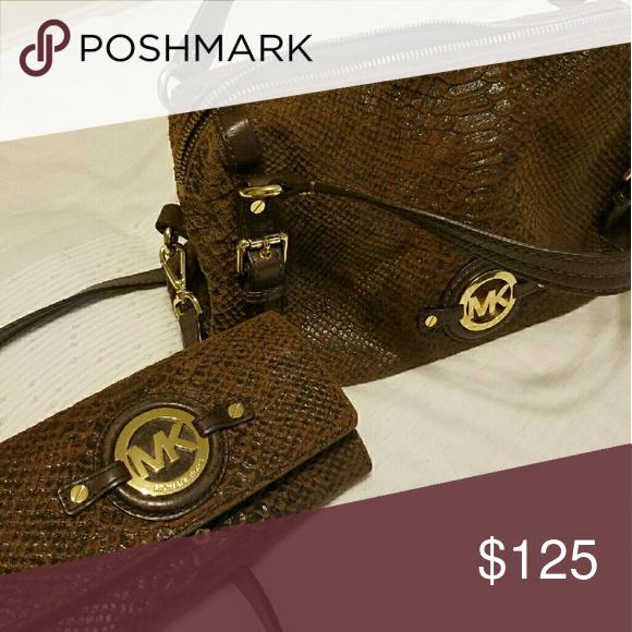 Handbag and Wallet Michael Kors sueded reptile Michael Kors Bags Satchels