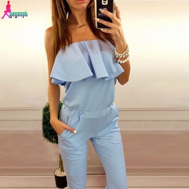 Gagaopt 2016 Sexy Rompers Womens Jumpsuit Strapless Elegant Jumpsuit Pink/Blue Ruffles Combinaison Femme Playsuit Overalls Monos