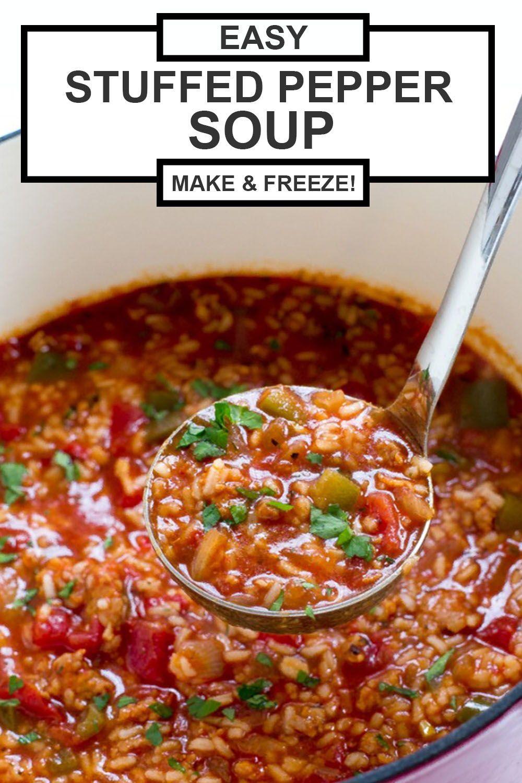 Easy Stuffed Pepper Soup Recipe One Pot Chef Savvy Recipe In 2020 Stuffed Peppers Stuffed Pepper Soup Recipes