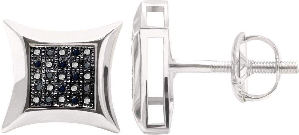 Square Stud 5 Full Black Real Diamond Women Usa Earrings