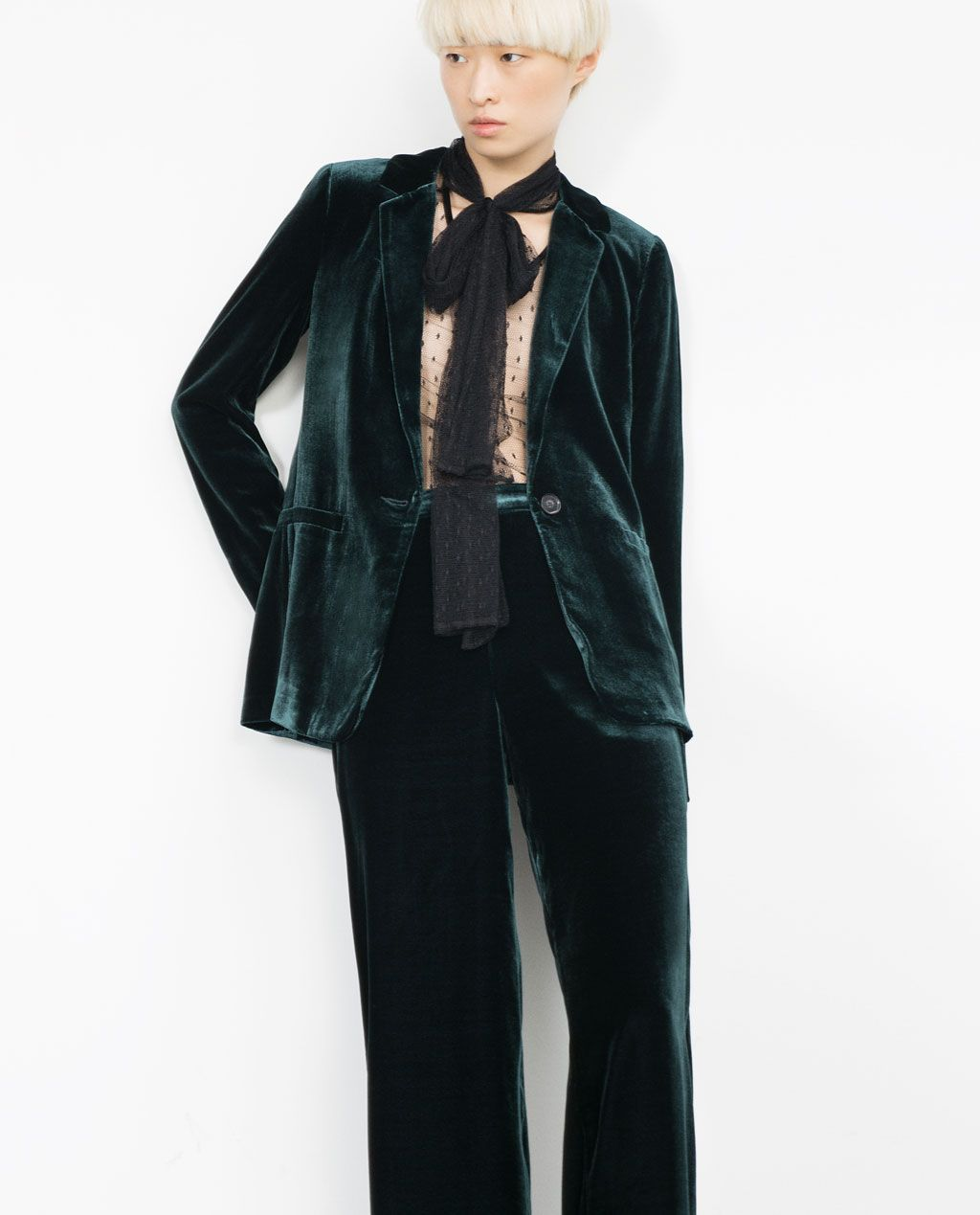 Zara Woman Green Velvet Studio Jacket With Images Green Velvet Jacket Blazer Jackets For Women