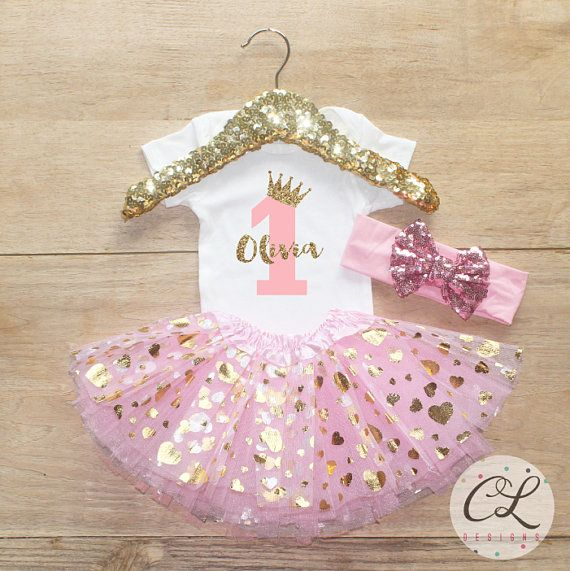 First Birthday Tutu Bodysuit Outfit / Baby Girl Clothes 1 Year Old ...