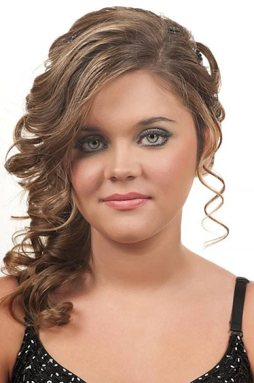 Curly Hair Styles With A Fringe : Prom updo curly hairstyles with side bangs for ruond face prom