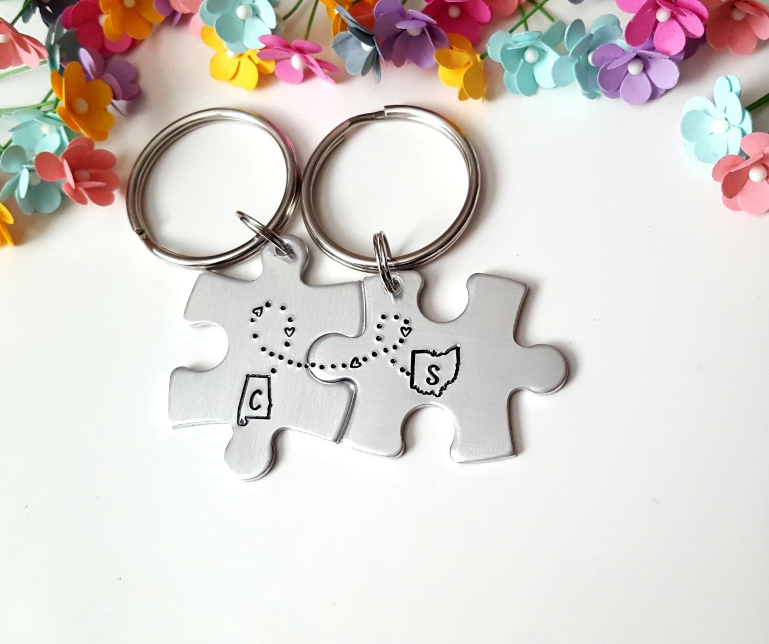 """""""Customizable State Couple Keychains by Cali Girl Customs on Etsy. >> Leave TWO Desired States/ Locations in the Note to Seller Box at check out << We currently offer ALL 50 States, and the following locations - Australia, Canada, Asia, Europe, UK, Africa, South America (see images) ✫✫ If you have any questions or need something customized further please, send us a message. We love custom orders and are always here to help our customers. Thank you ✫✫ ---------------------------------"""