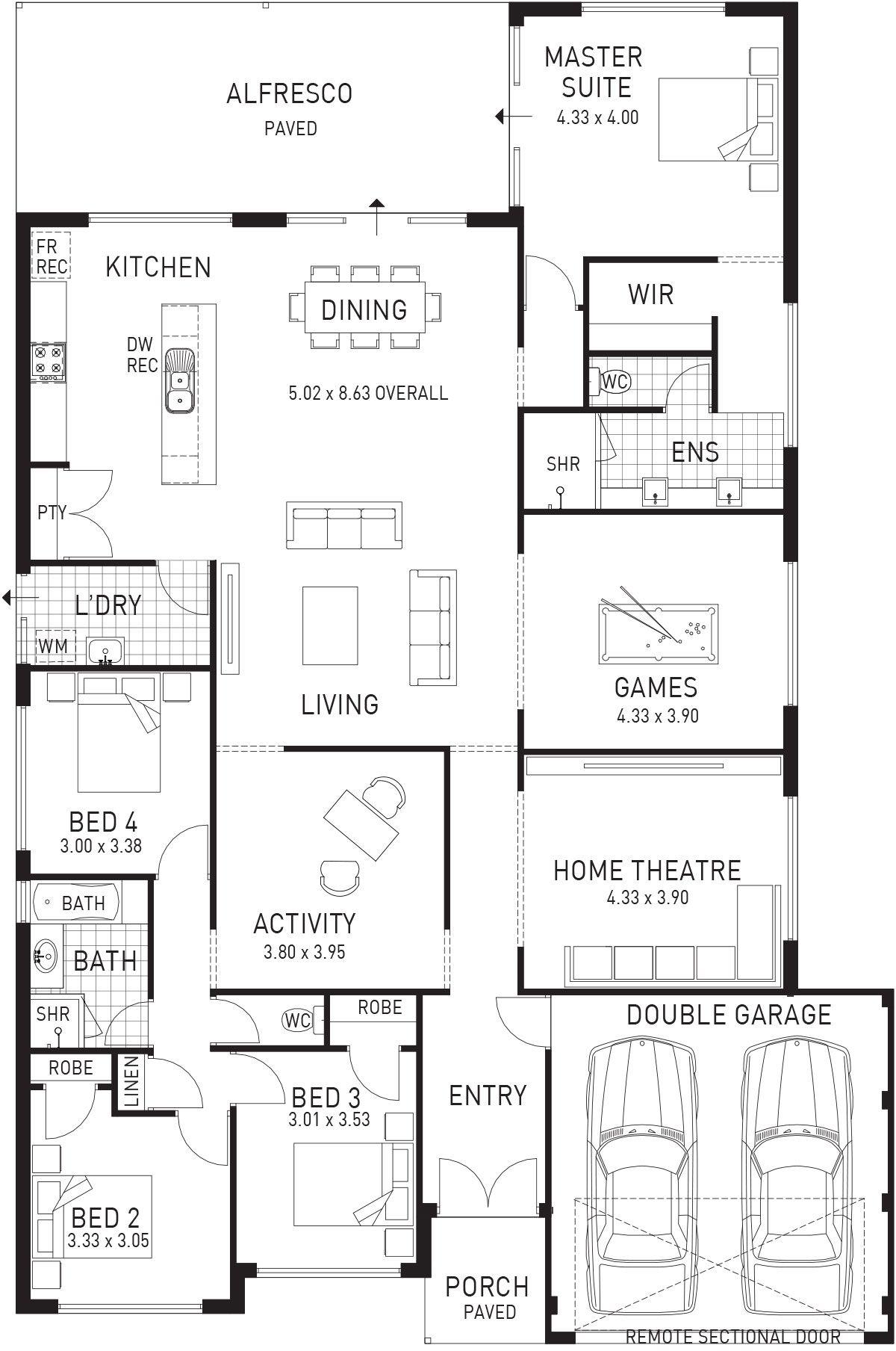 Kingdom Single Storey Floor Plan Wa House Design House Floor Plans Dream House Plans