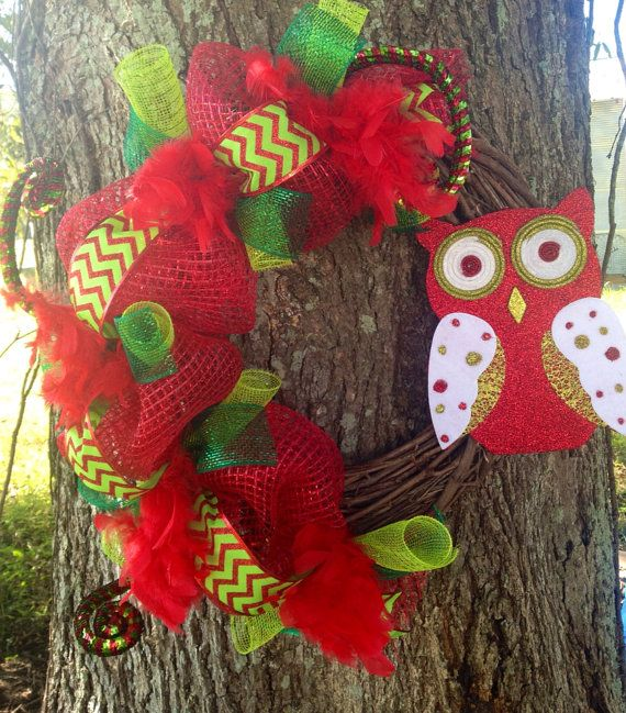Red and lime green chevron and owl Christmas wreath on Etsy, $65.00