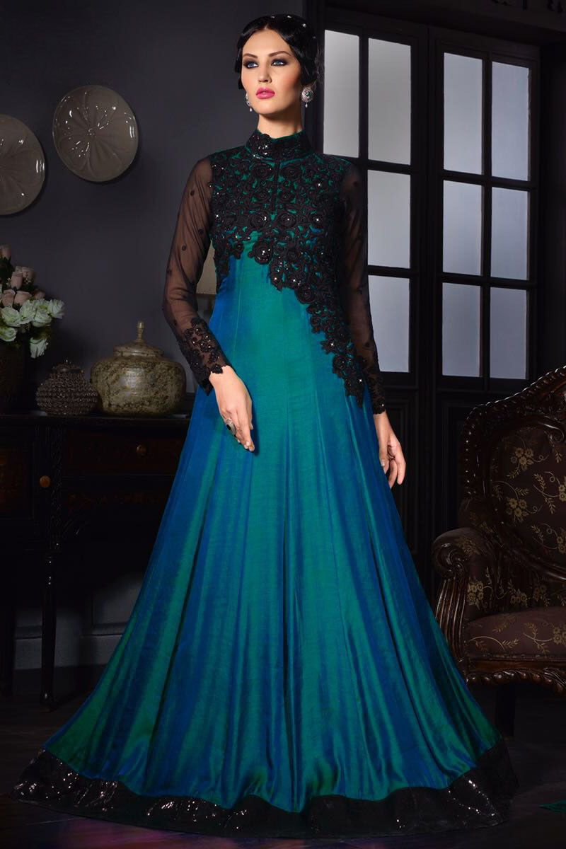 Blue Silk Fabric Embroidered Gown Style Party Wear Anarkali Suit ...