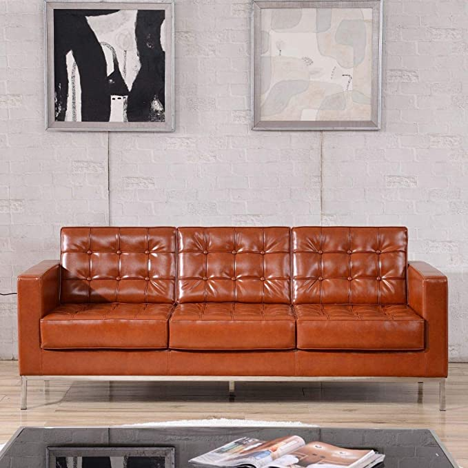 Flash Furniture HERCULES Lacey Series Contemporary Cognac LeatherSoft Sofa with Stainless Steel Frame