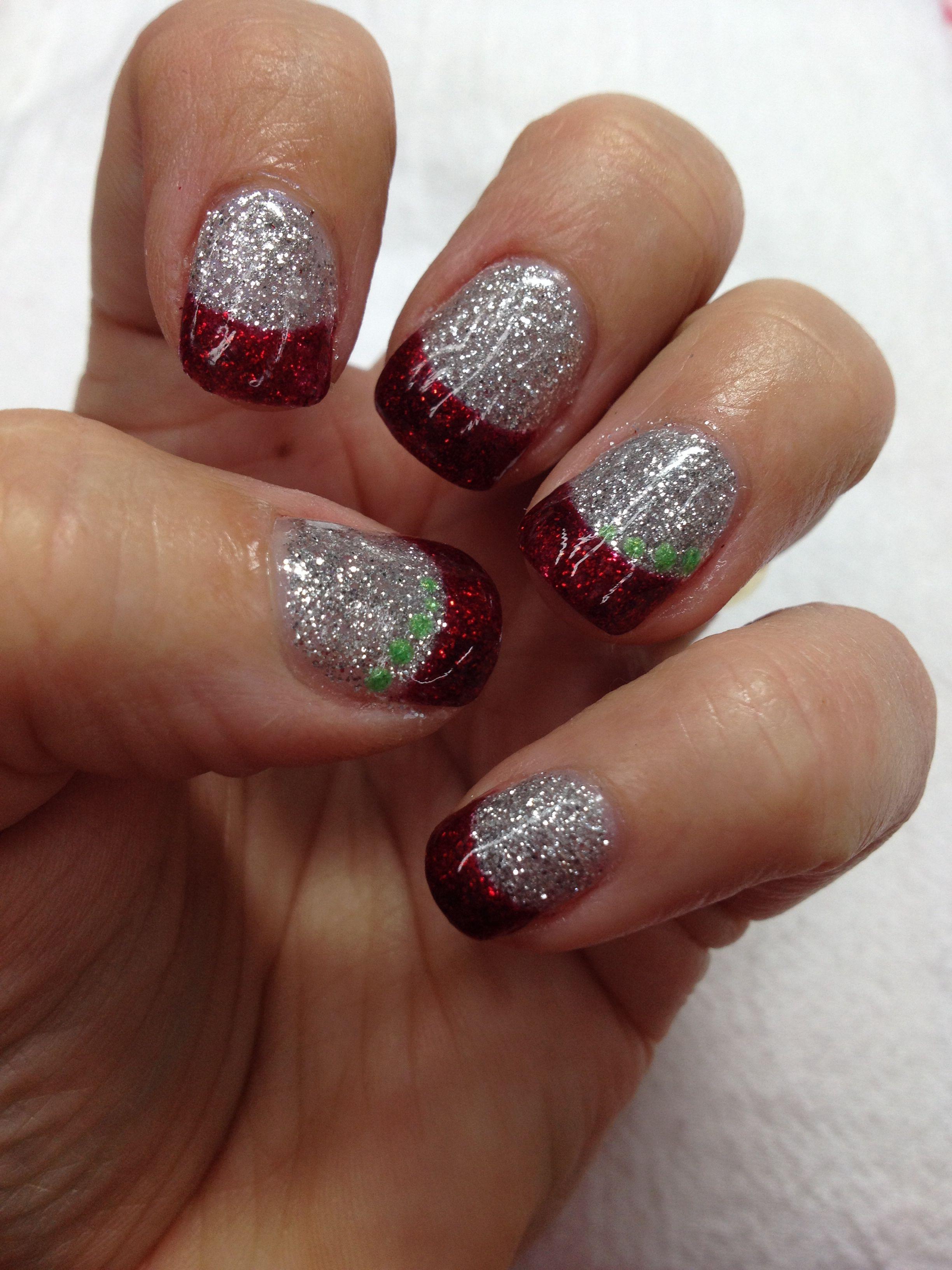 Sparkled holiday Christmas nails!! All blinged out in silver and red ...