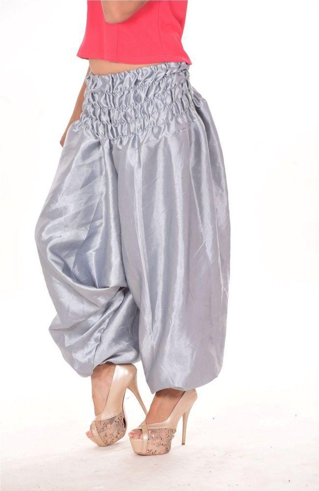 ad89ec72f New women s Ladies Alibaba Harem Trousers Baggy Gray Satin Silk ...