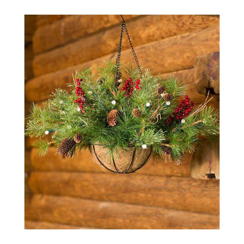 BatteryOperated Holiday Greenery Hanging Basket With Auto