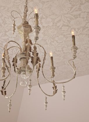 Stenciled lace ceiling by Bella Tucker Decorative Finishes, design by Julie Couch interiors.