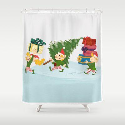 Christmas Bathroom Shower Curtains
