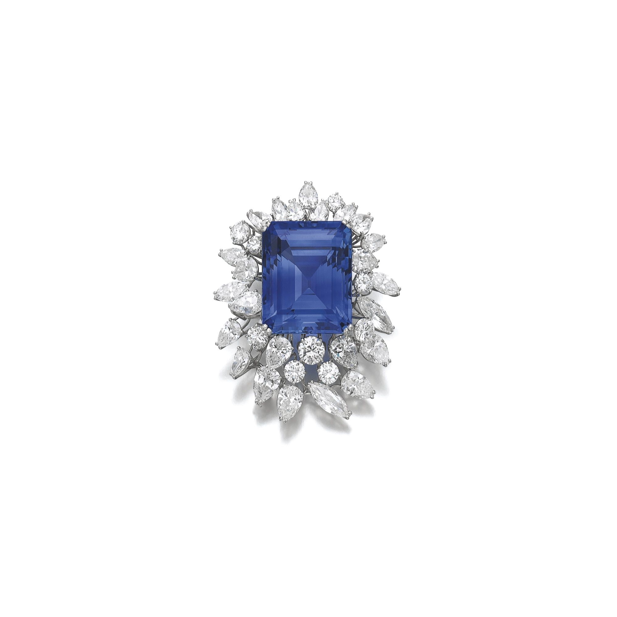 scroll stylised pin sapphire of with diamond jewellery brooch and set marquise design