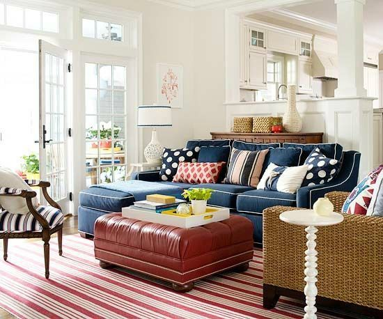 Fine Blue Sofa With White Contrast Welt And Red Leather Ottoman Ibusinesslaw Wood Chair Design Ideas Ibusinesslaworg