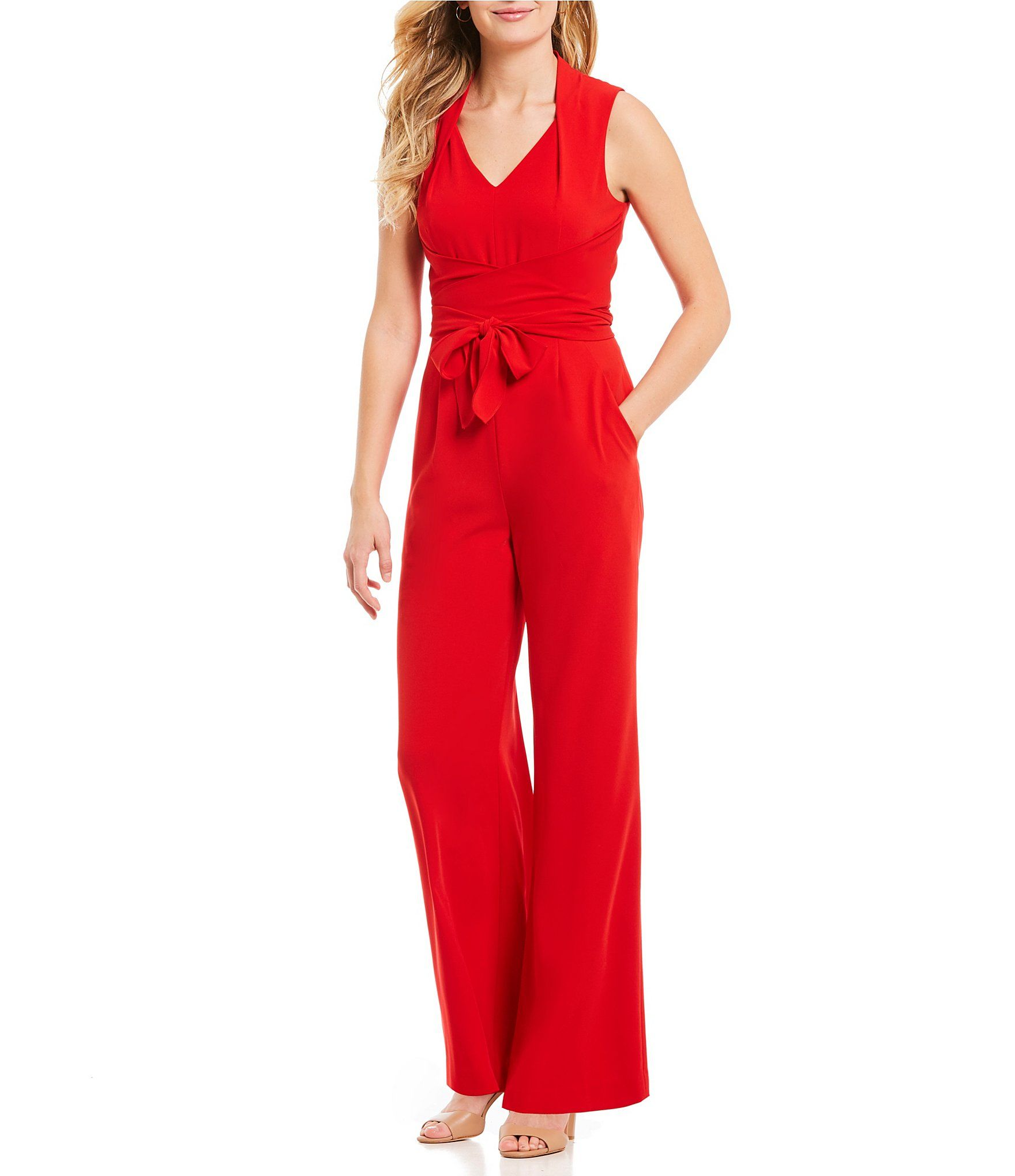 845216f685 I would love this in black or blue! Antonio Melani Jason VNeck Sleeveless  Crepe Jumpsuit  Dillards