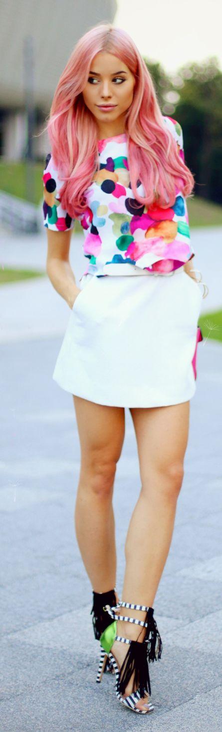 Carmen Grebenisan Colorblocking White Multi Everyday Girly Summer Outfit Idea
