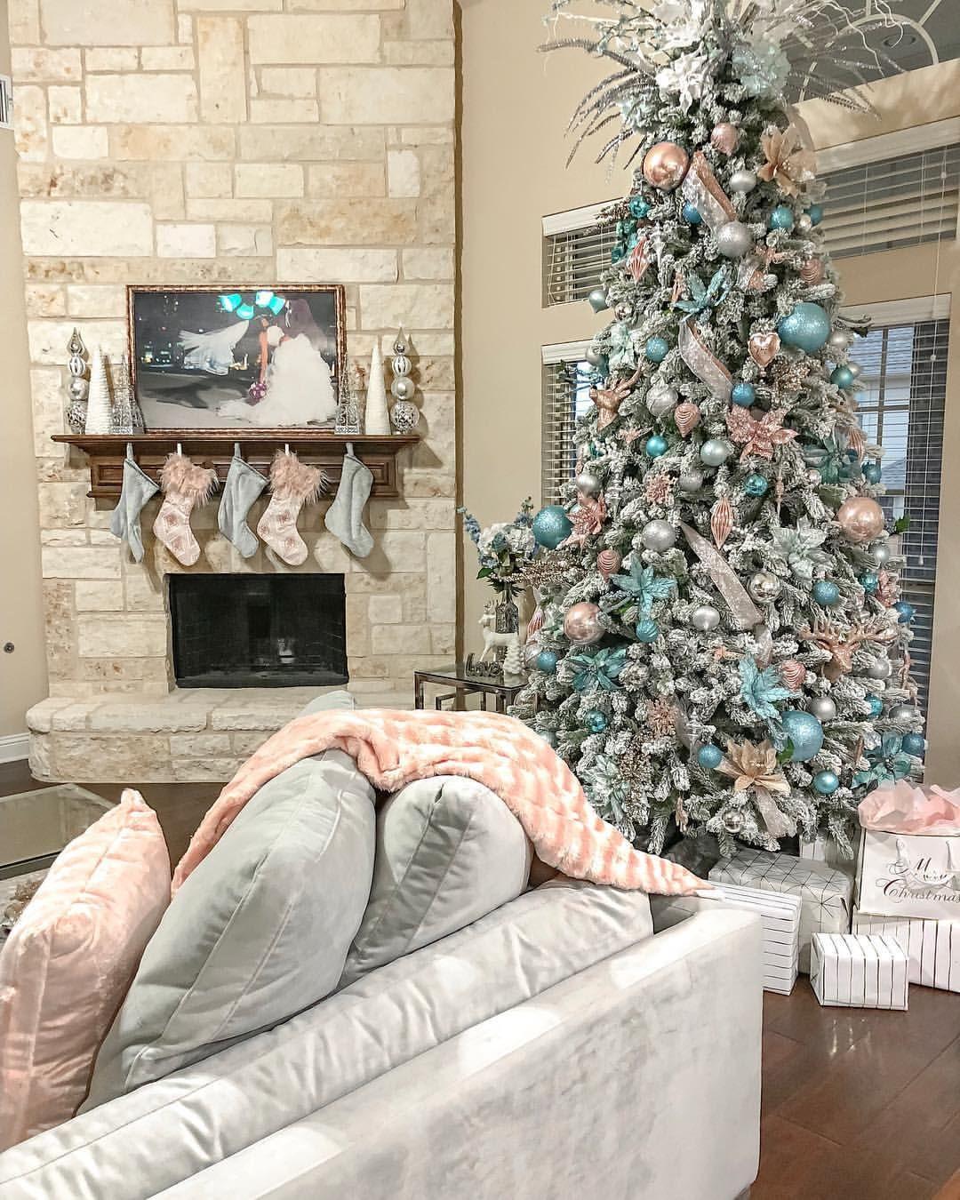 Glam Christmas Tree Decorating Ideas Blush And Grey Living Room Grey Christmas Decor Christmas Decorations Living Room Christmas Living Rooms