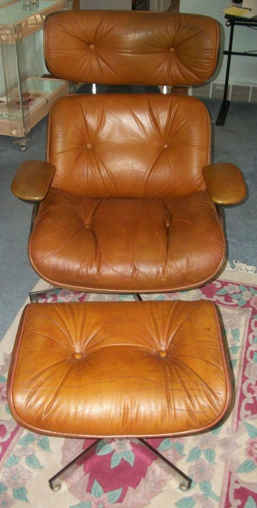 Mid Century Modern Eames Style Leather Lounge Chair Ottoman Selig Plycraft