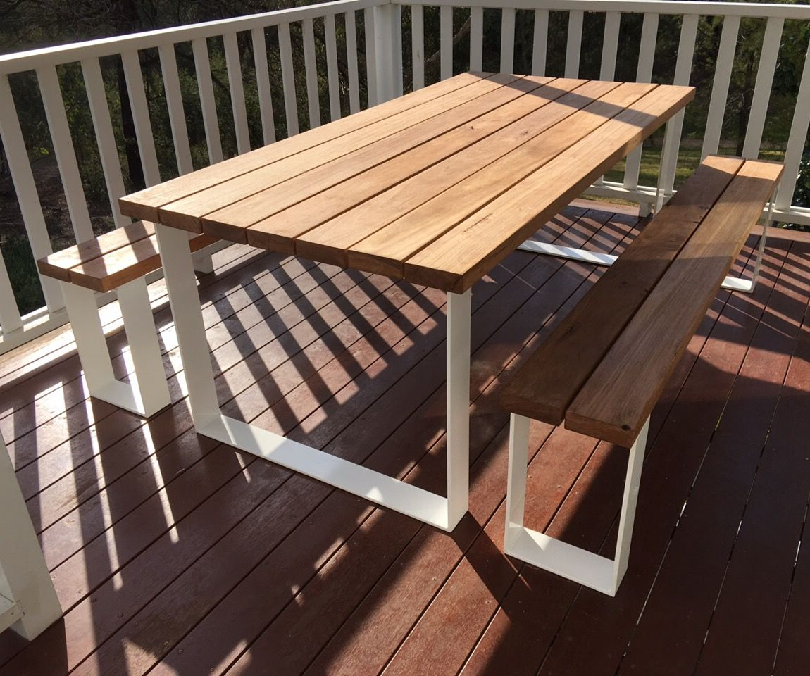 Outdoor Table Part - 18: ULTIMATE OUTDOOR SETTING A Thickness Black Butt, Spotted Gum Or Jarrah Table  Top With Powder Coated Stainless Steel Or Aluminium Loop Legs.