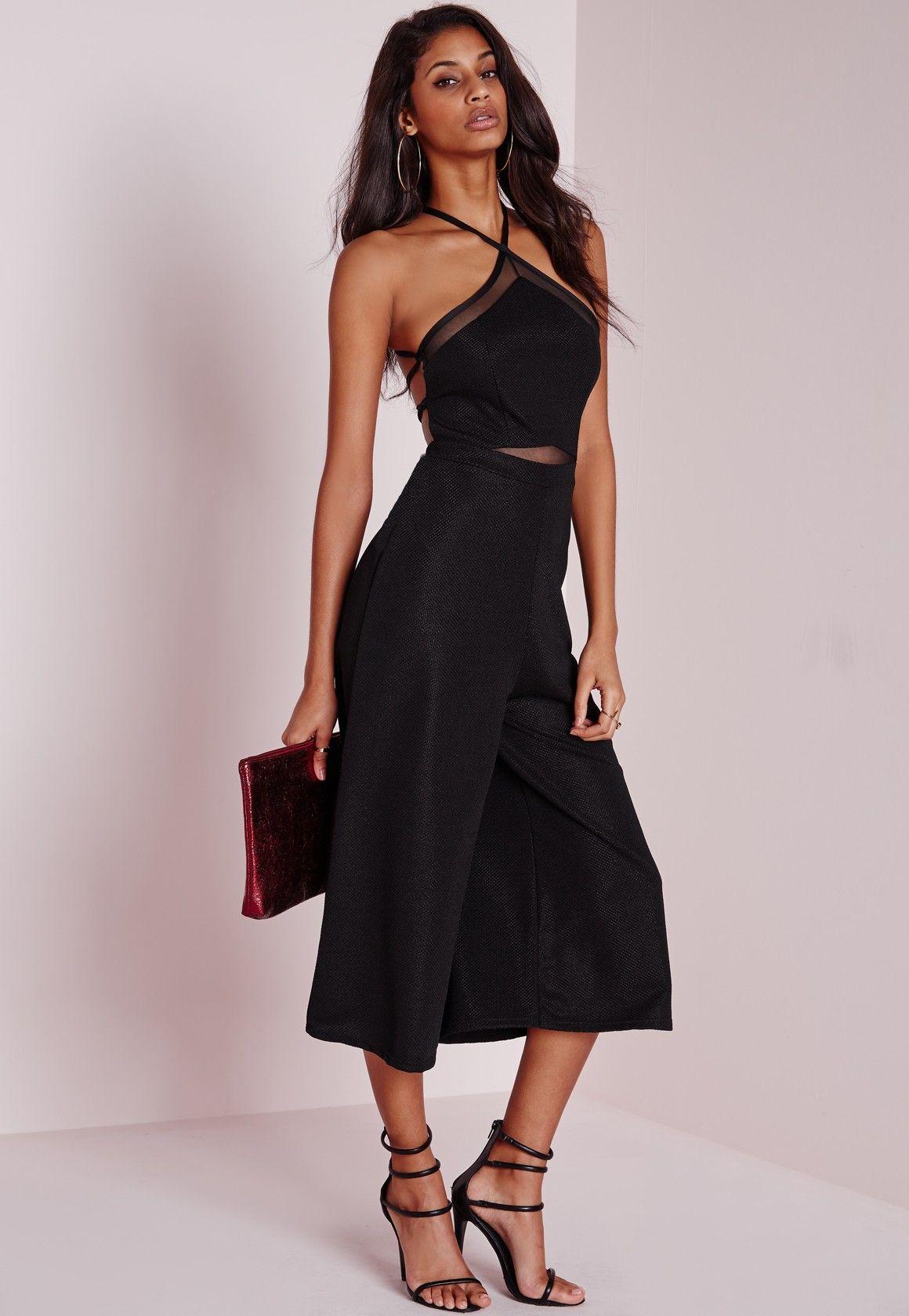 a9112a4f4692 Missguided - Mesh Insert Halterneck Culotte Jumpsuit Black
