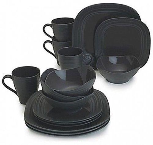 Dinnerware Sets Service For 16 Black Swirl Square Plates Dishes Bowls Kitchen #DinnerwareSetsServiceFor16  sc 1 st  Pinterest & Dinnerware Sets Service for 16 Dark Grey Swirl Square Plates ...