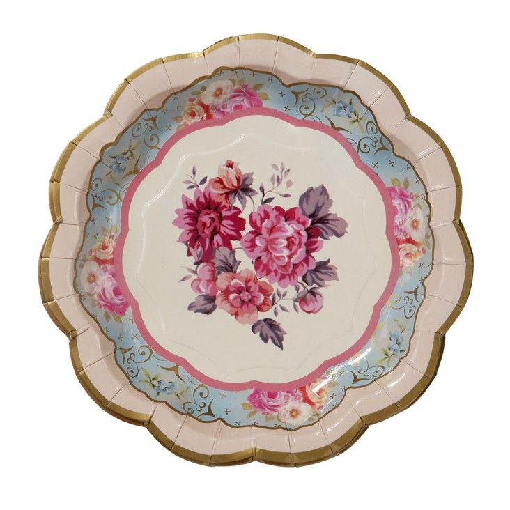 Paper plate with vintage flower print | A Lovely Party | Pinterest ...