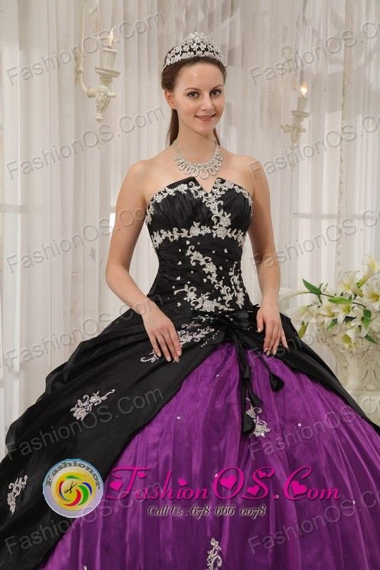 Modest white Appliques Decorate Black and Purple Quinceanera Dress ...