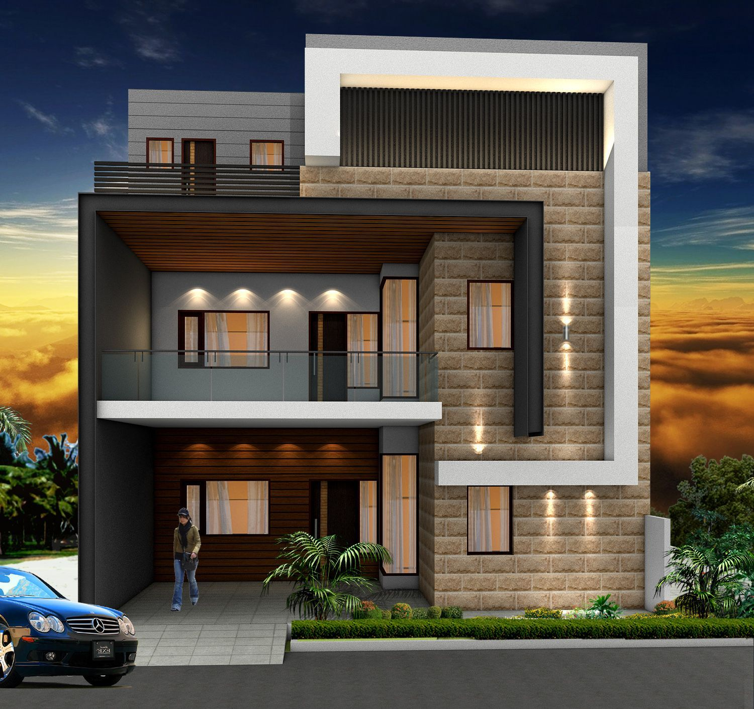 Independent house   House front design, Small house