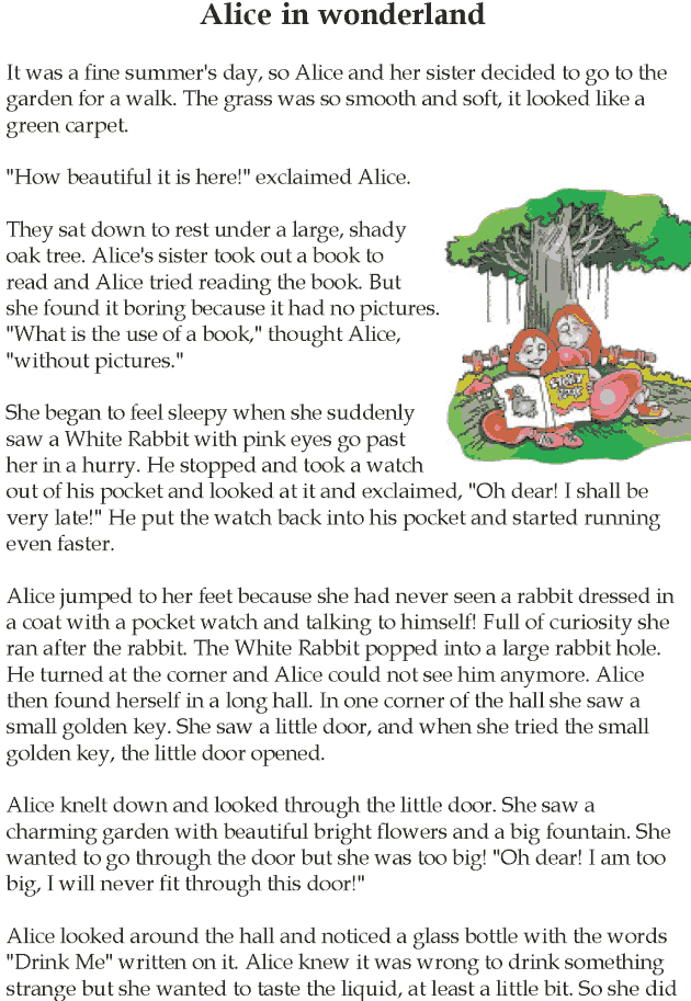 alice in wonderland short book report Alice in wonderland hello today i am going to read a story called alice in wonderland once upon a time a little girl alice was sitting on a tree her aunty was reading alice a book then alice fell.
