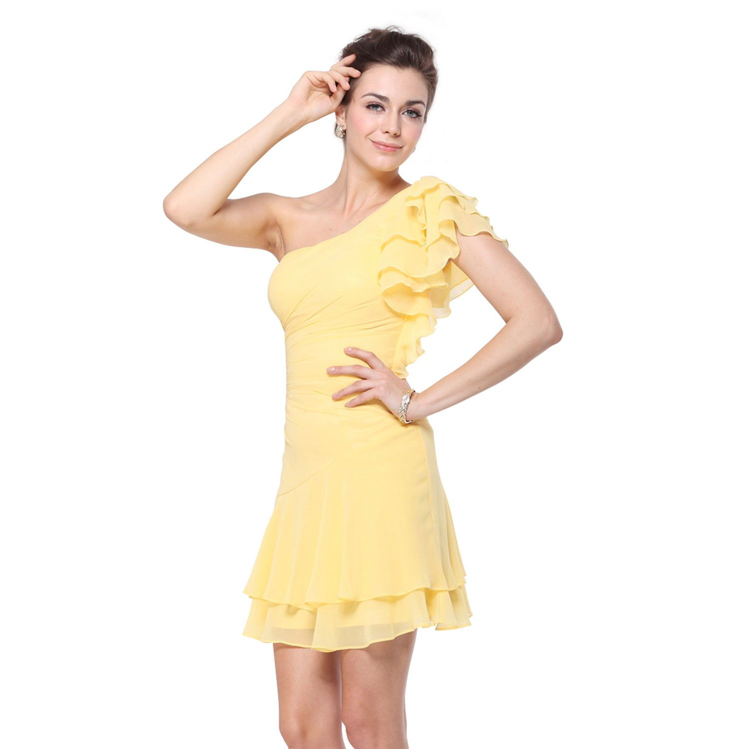 Awesome short yellow bridesmaid dresses homecoming ball gown