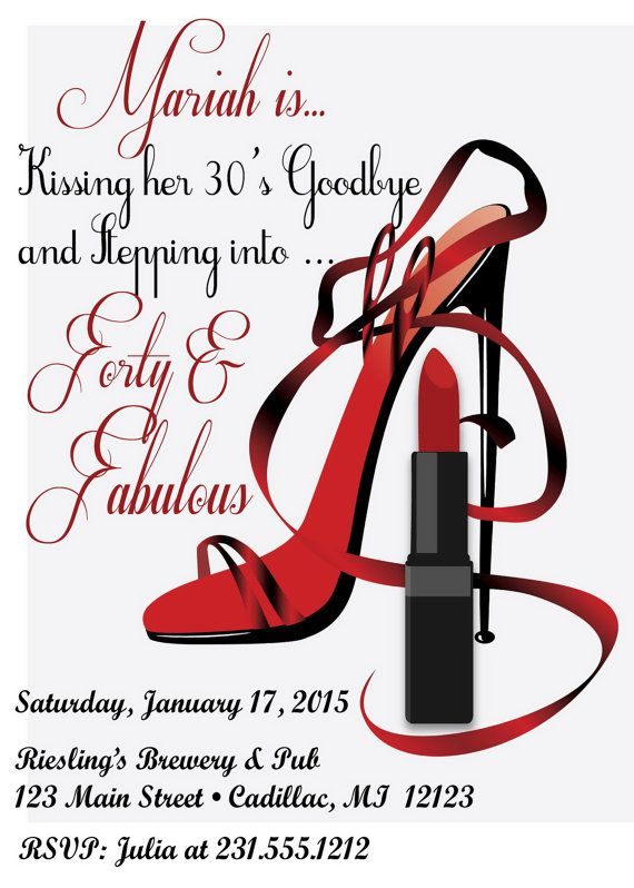 Red Hot Forty Amp Fabulous Birthday Invitation Women S