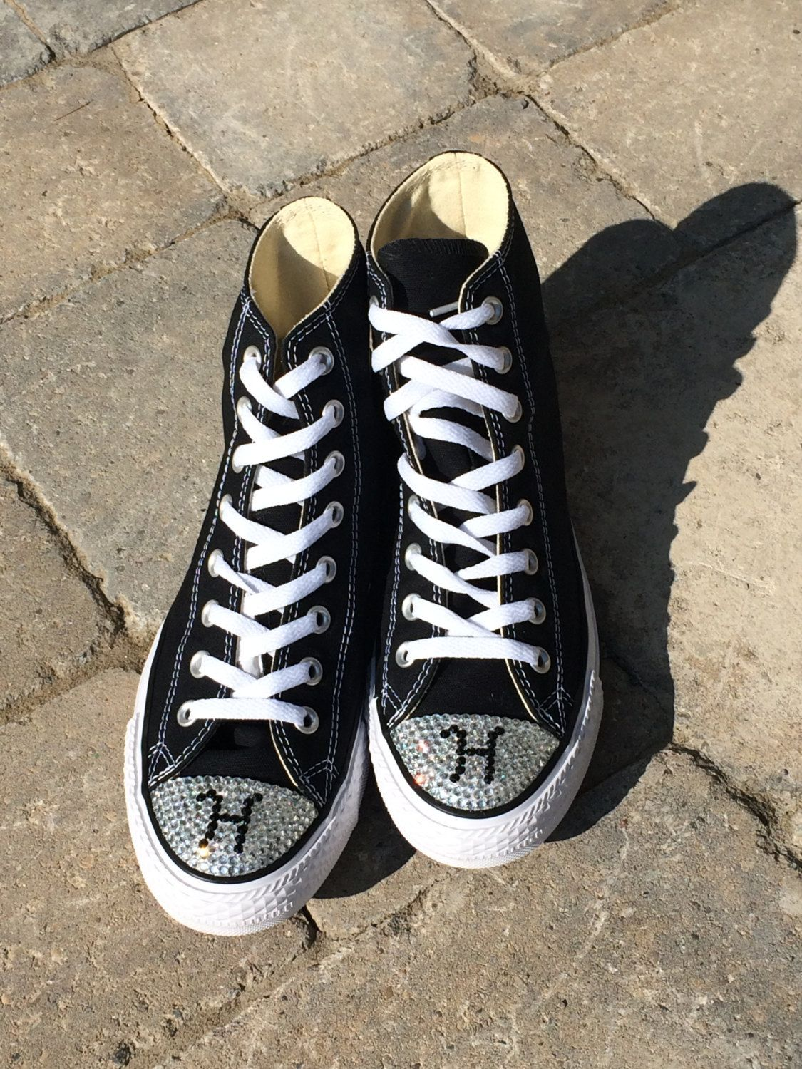 High Top Converse Monogram Shoes. Initial Rhinestone Bling. Women s Custom… 7e6f08f78