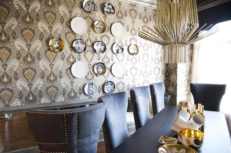 Smith Boyd Interiors   Dining Rooms   Tashkent Ikat Silver Wallpaper,  Fornasetti Plate, F