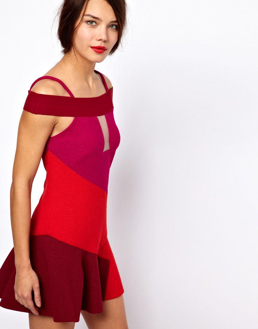 Three floor flounce dress in colorblock style trend designs