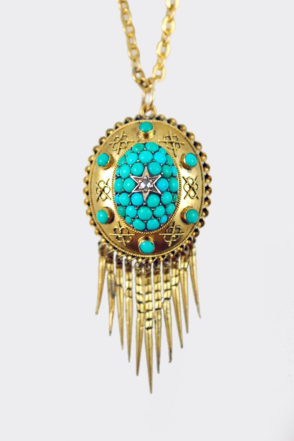 antique turquoise and gold etruscan revival pin/pendant