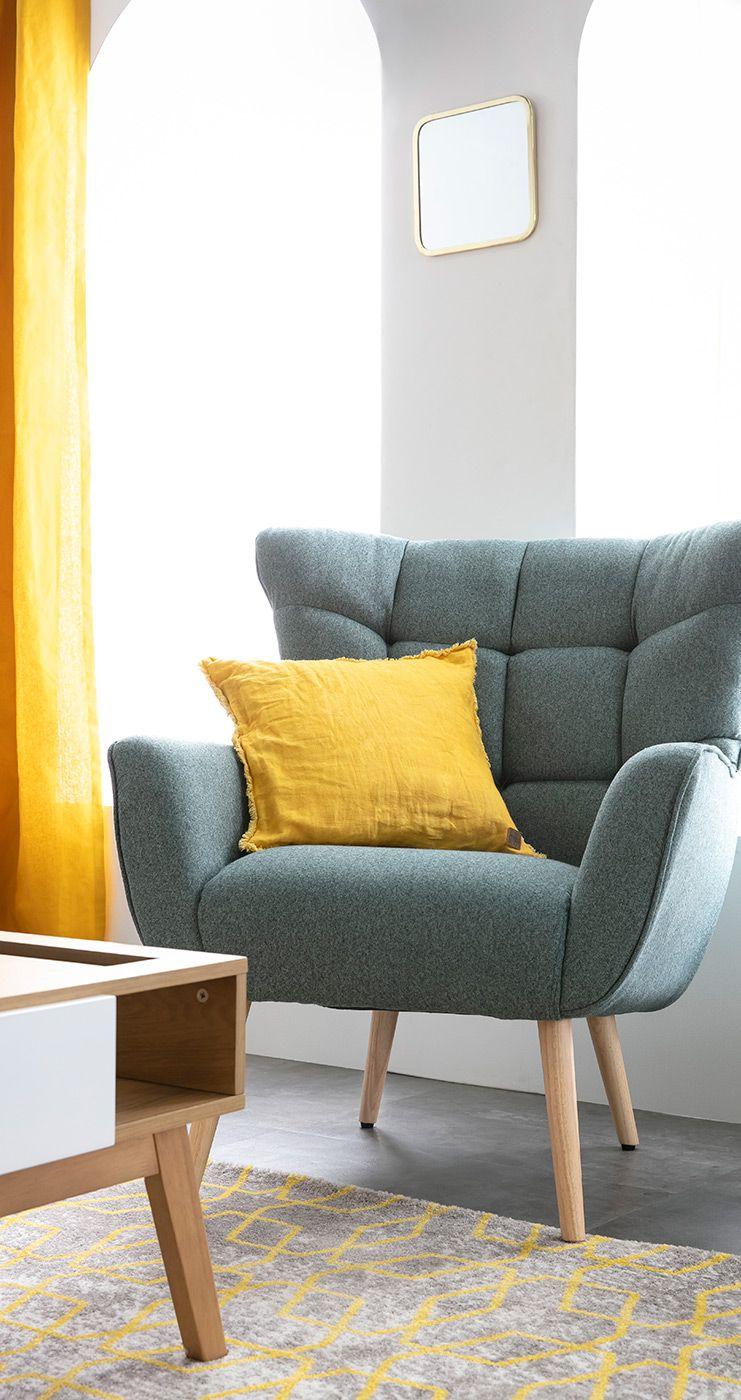 Fauteuil Scandinave En Tissu Vert Et Bois Avery Miliboo Stephane Plaza Miliboo En 2020 Meuble Design Mobilier De Salon Mobilier