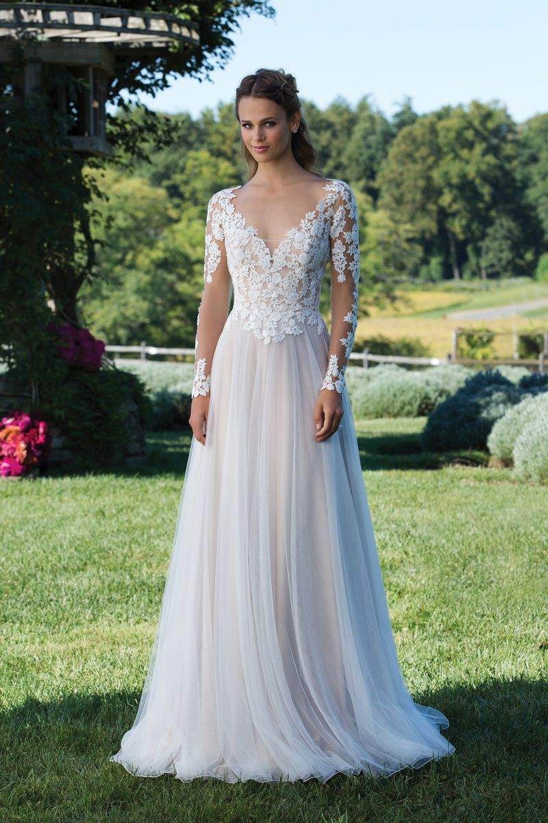 Style 3972 Venice Lace Gown with Illusion Bodice and