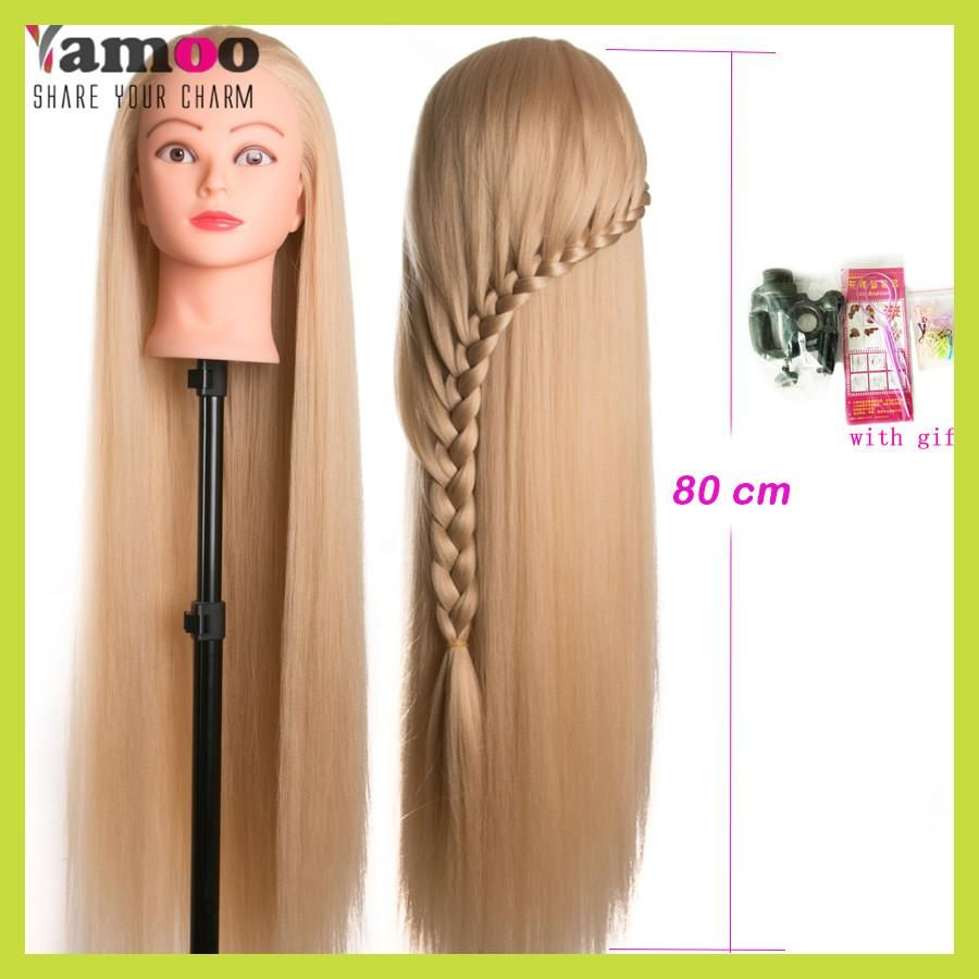 Head Dolls For Hairdressers 80cm Hair Synthetic Mannequin Head Hairstyles Female Mannequin Hairdressing Styling Training Head Coiffure Cheveux Coiffeur