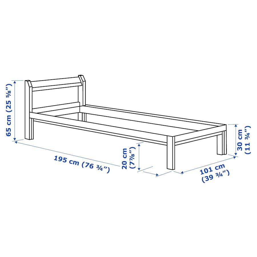 Neiden Bed Frame Pine Birch Luroy Twin Ikea In 2020 Bed Frame Bed Frame Hack Ikea