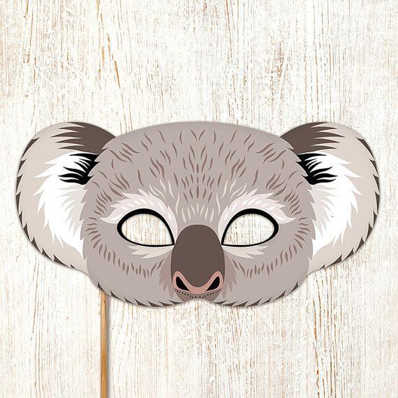 Koala Printable Mask Gray Bear DIY Animal Masks By LMEprintables