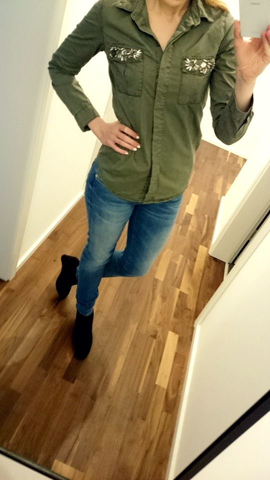 Armyhemd Primark, Jeans Mavi, Wedges Graceland, Outfit of the day