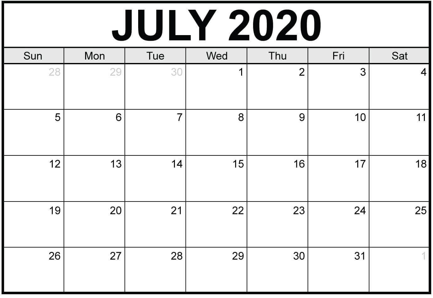 Printable Calendar July 2020 Word in 2020 | Printable ...