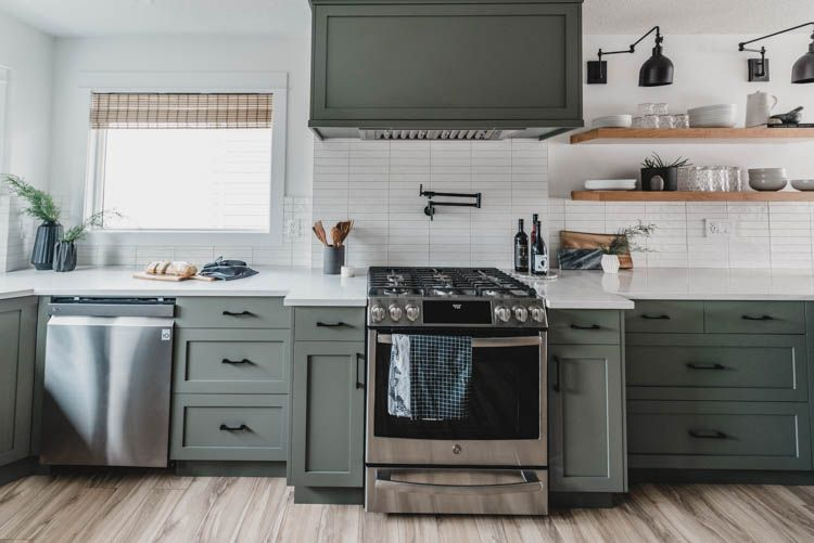 Modern Olive Green Kitchen Before After Lemon Thistle