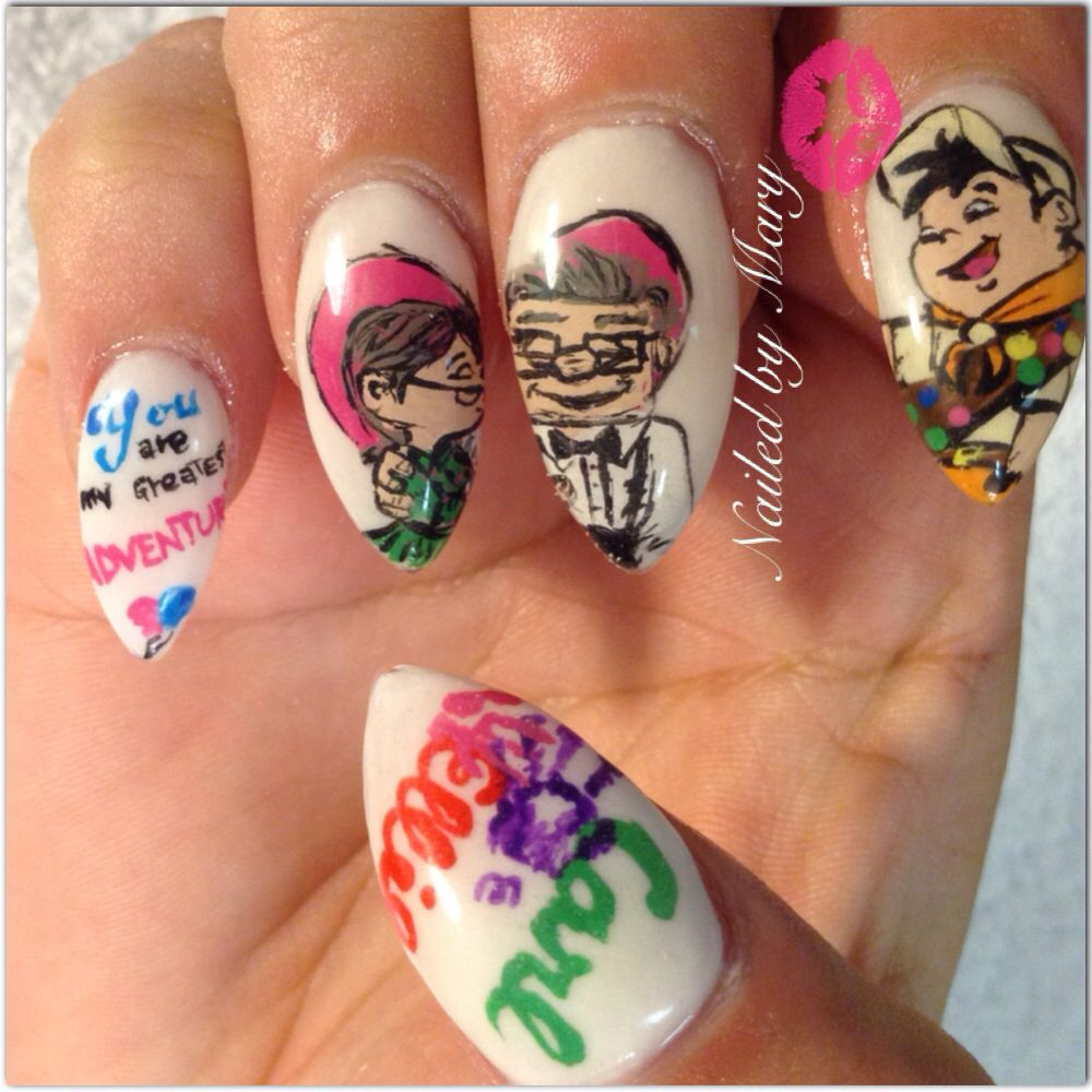 Carl and Ellie Russell disney up movie valentine nails